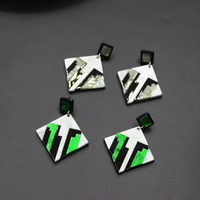 New Baroque simple fashion pastoral style acrylic square earrings temperament models 556