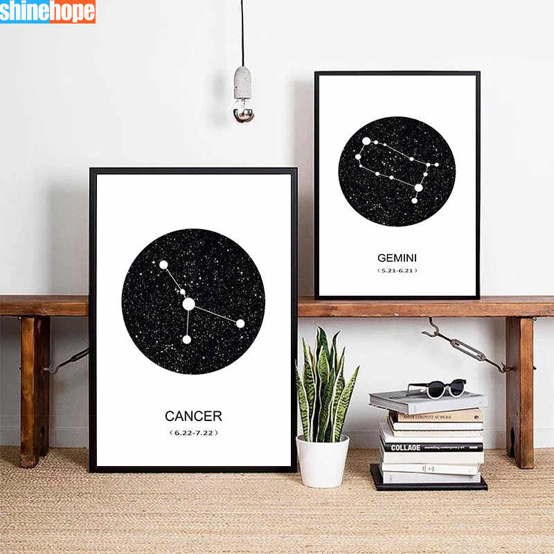 New Twelve Constellation Nursery Wall Art Canvas Poster Prints Astrology Sign Minimalist Geometric Painting Nordic Decoration