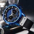 Мужские кварцевые часы MEGIR  армейские часы с кожаным ремешком и секундомером  спортивные часы синего цвета  2080