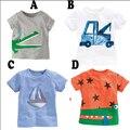 Bebé de la manera del verano de impresión camisetas 100% del algodón de los niños de dibujos animados coche/barcos/estrella tapa ocasional corta manga de la Camiseta