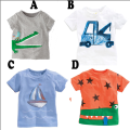 summer fashion baby boy printing t-shirts 100% cotton children Kids cartoon car/boats/star casual top short-sleeve T-shirt