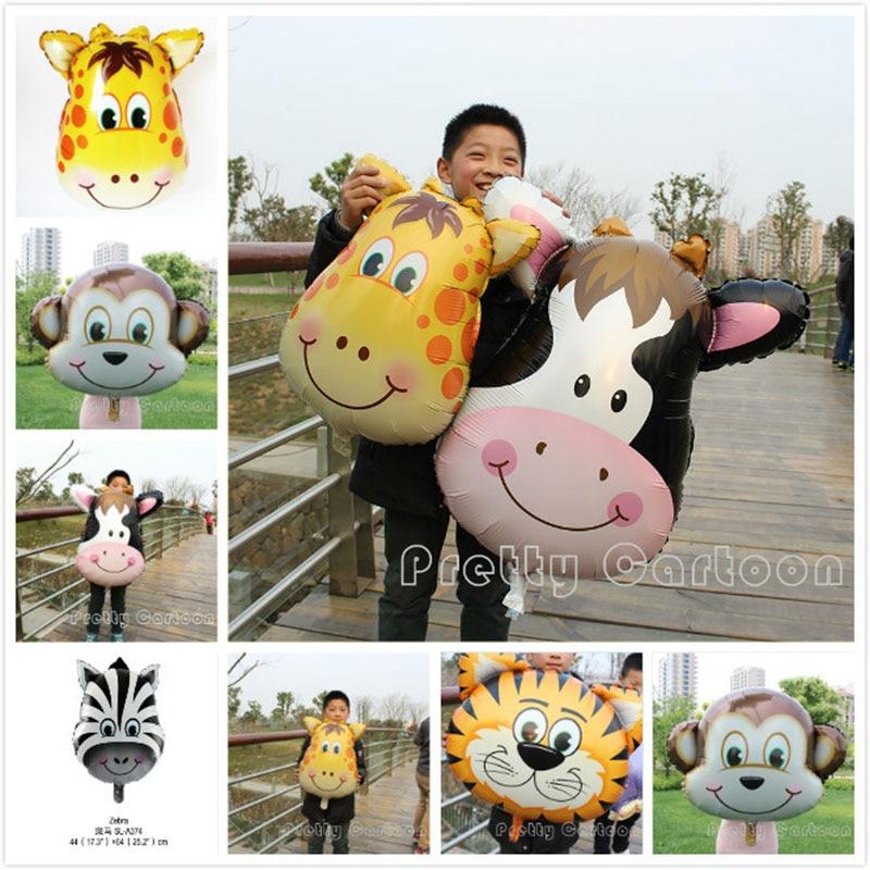 Selva animal folha balão tigre & leão & macaco & zebra & veados & vaca crianças festa de aniversário balões hélio safari zoo globos