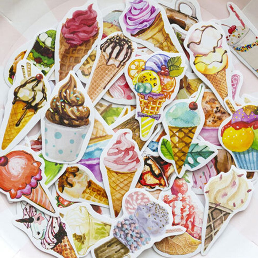 50PCS/PACK DIY Summer Colorful Ice Cream Set Stickers  Decorative Stationery Stickers Scrapbooking Diary Album Sticky Lable