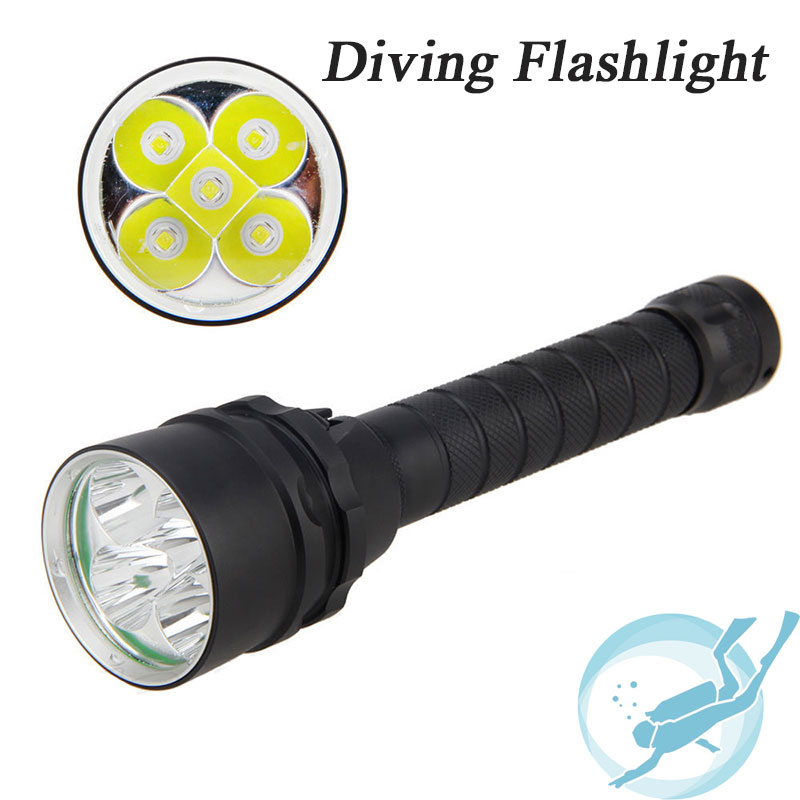 Underwater 100m Diving Flashlight 8000 Lumen 5x Cree XM-L L2 Dive Lamp Torch for Outdoor Diving ru zk30 cree xm l2 diving led flashlight 5000lm zoomable torch lantern dive waterproof underwater 120m military grade flashlight
