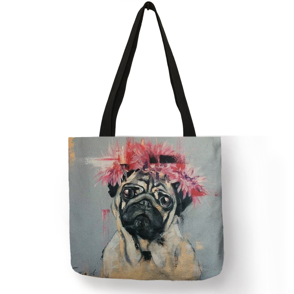 Cute Pug Dog Printing Reusable Shopping Bags Practical Linen Foldable Lightweight Handbag Outdoor Storage Totes For Women Men