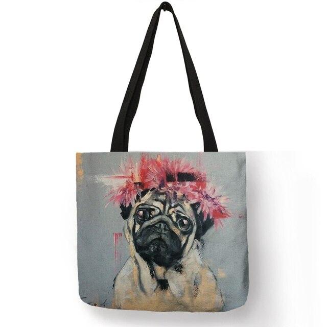 Cute Pug Dog Printing Reusable Shopping Bags Practical Linen Foldable Lightweight Handbag Outdoor Storage Totes for Women Men