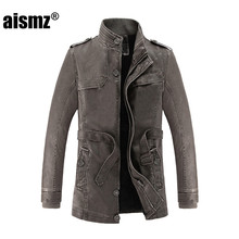 Aismz Faux Leather Jackets Men Warm Fleece Winter Men s Coats Stand Collar Sashes Casual Outwear