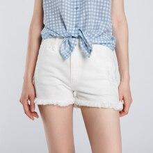 2017 летние женские джинсовые белые шорты с бахромой