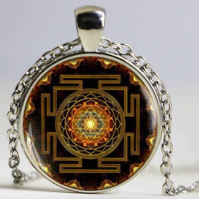 Buddha Sri Yantra Pendant Mandala Kalung Bunga Perhiasan Geometri Suci Rohani Swarovski Yoga Sweater Rantaian Hadiah untuk Dia