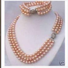 """ГОРЯЧЕЙ продать Стиль>>>> тройной южного моря 9-10 мм лаванды roundpearl ожерелье 1"""" bracelet7.5inch"""