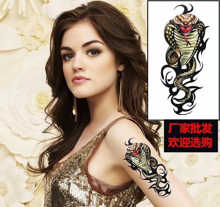1PCS 3D 2016 Cute Cool Snake Tattoo cobra 3D Waterproof Temporary Sexy Tattoo Stickers