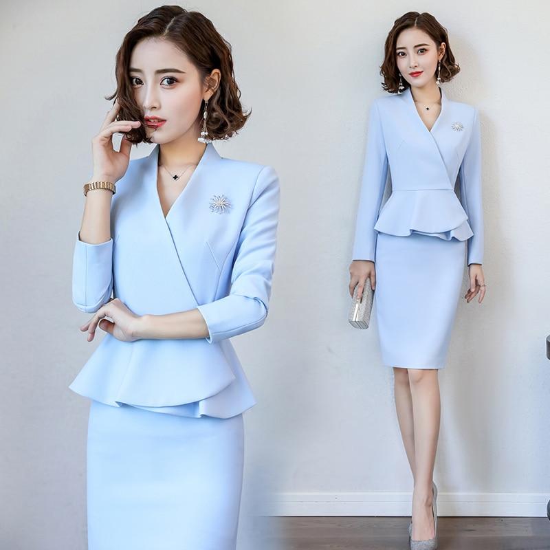Interview costumes femme blazer jupe costume femme femmes 2018 bureau uniformes conceptions femmes d'affaires costume AA4294