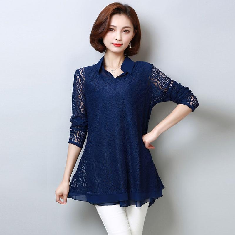 Plus Size Lace Blouse 2018 Women Chiffon Blouses Shirts Elegant Black Crochet Long Sleeve Shirt Blouse Chemise Femme Ladies Tops
