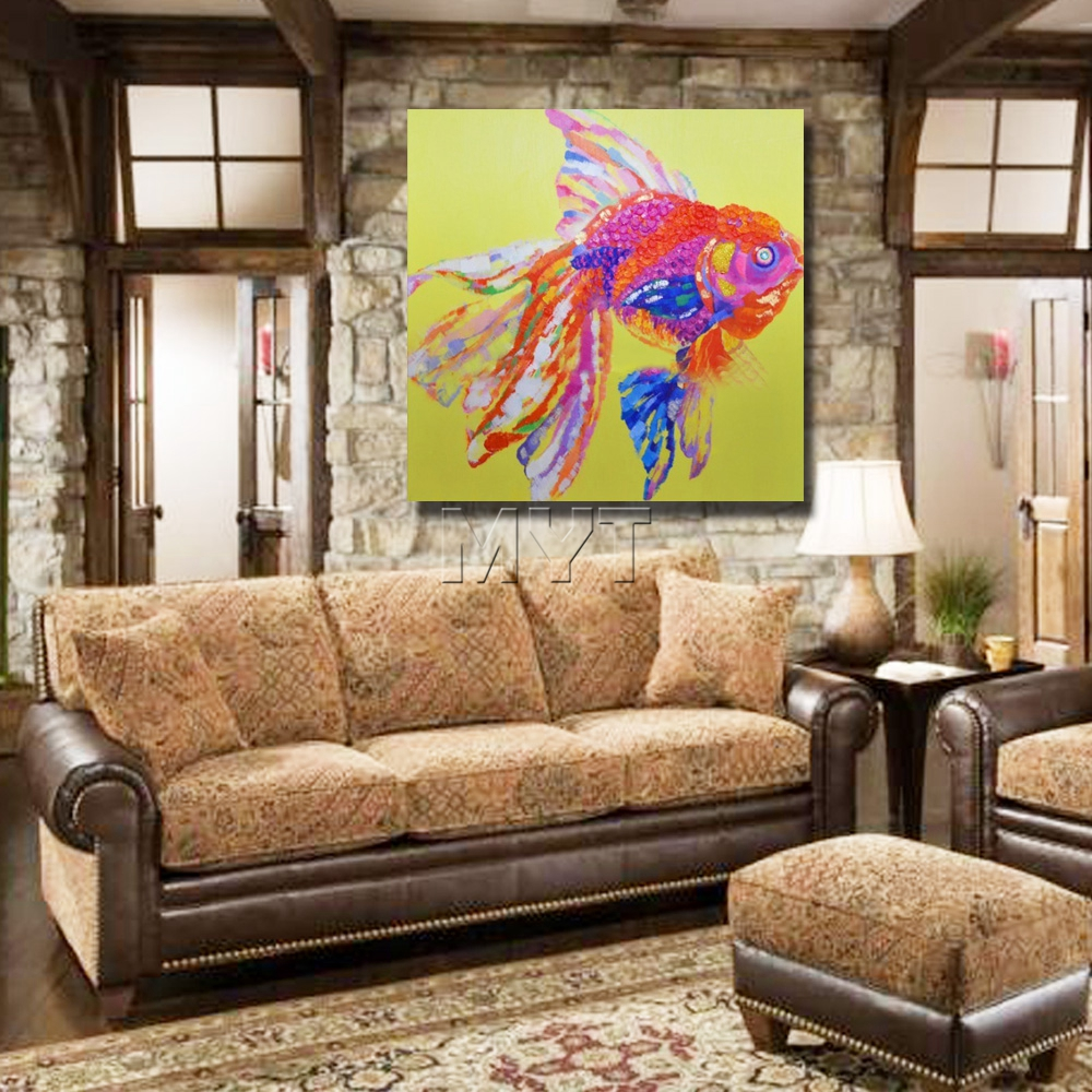 Aliexpress Com Buy Pretty Pink Fish Painting Modern Decoration Wall Art Bedroom Decor Pictures Canvas Art High Quality Oil Painting On Canvas From