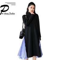 Side zipper stitching high collar Cotton fabric winter dress women fashion new solid color Long Sleeve dress pullovers