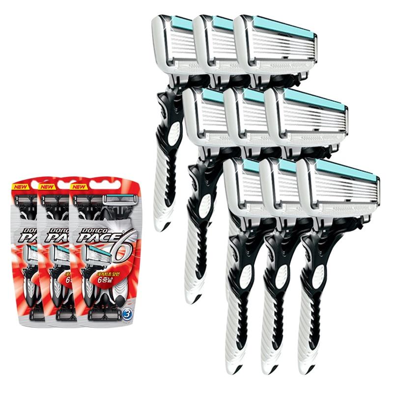 High Quality Dorco Razor Men 9 Pcs/lot 6-Layer Blades Razor For Men Shaving Stainless Steel Safety Razor Blades