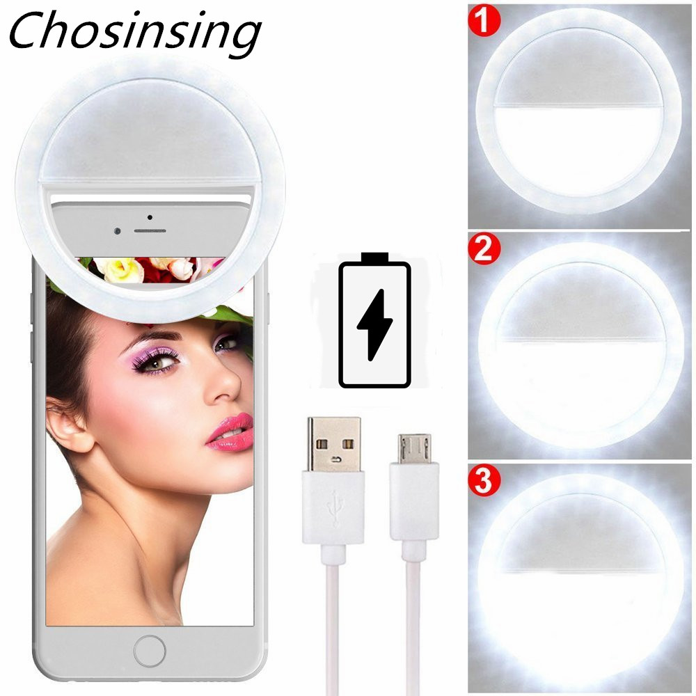Universal Soft LED Selfie Ring Fill Light USB ReChargeable Night Lamp Phone Holder Enhancing For IPhone Darkness Celebrity Girls