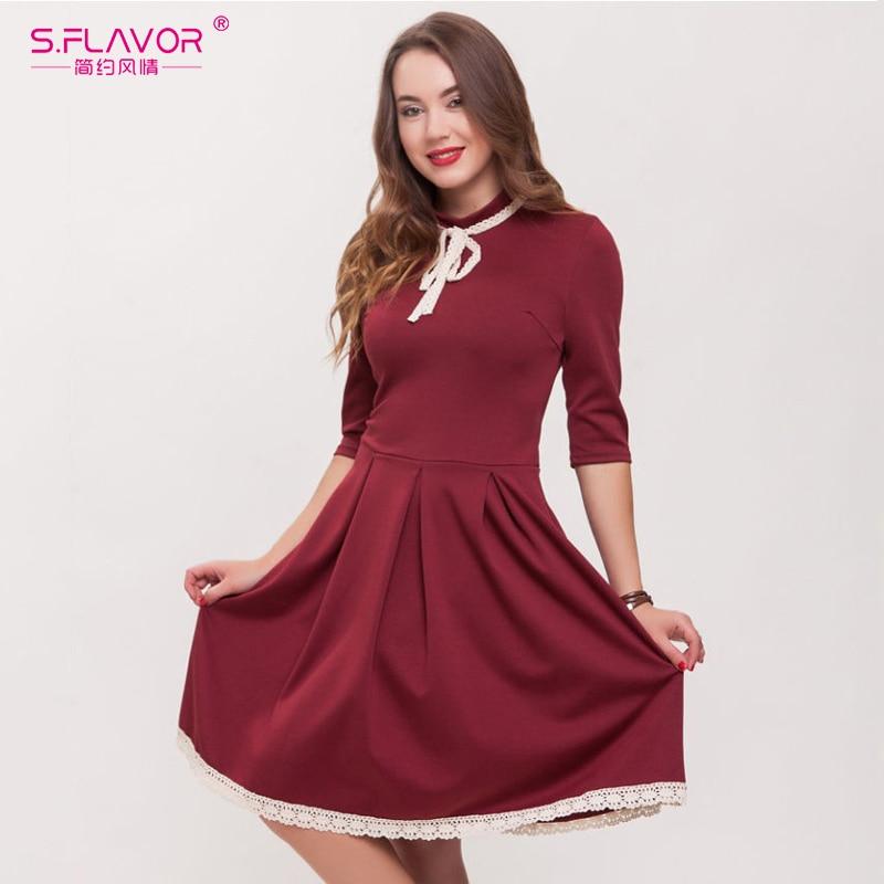 f0d7571f5ca1 ... S.FLAVOR Women Solid A-line Dress with Lace Elegant Women Half Sleeve  Vintage ...