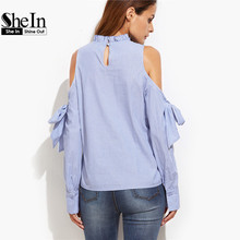 SheIn Korean Fashion Clothing Tops and Blouses for Women Blue Vertical Striped Ruffle Collar Cold Shoulder Blouse