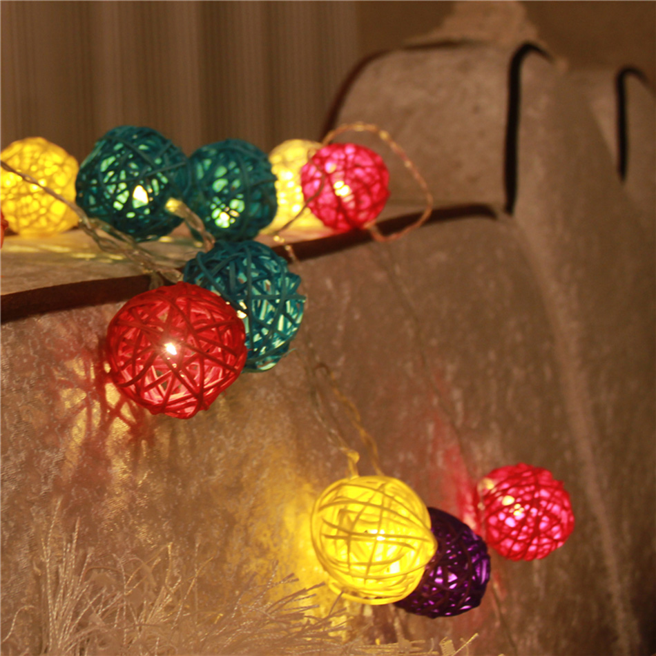 3 meter 20pcs colorful rattan balls led string light, portable AA battery operated, holiday festival party light decoration