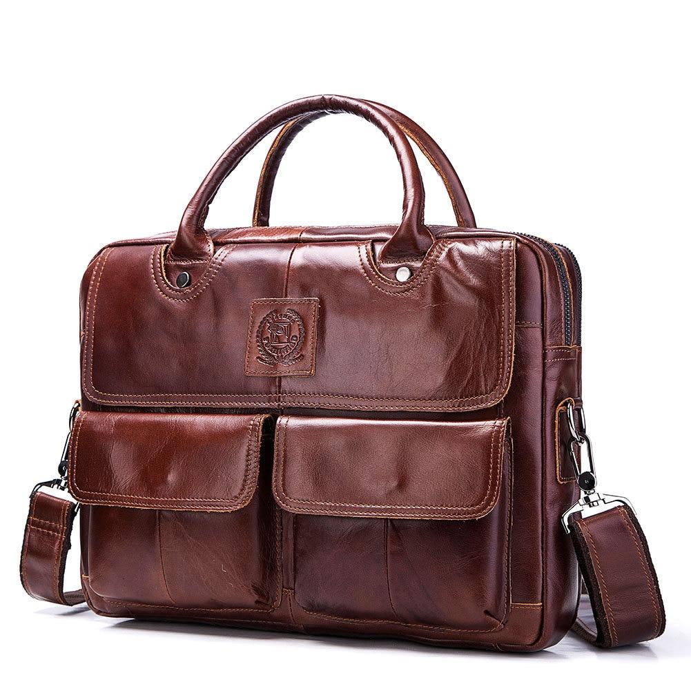 IMIDO genuine leather business briefcases men messenger bag shoulder bag laptop cross body bag hand bag