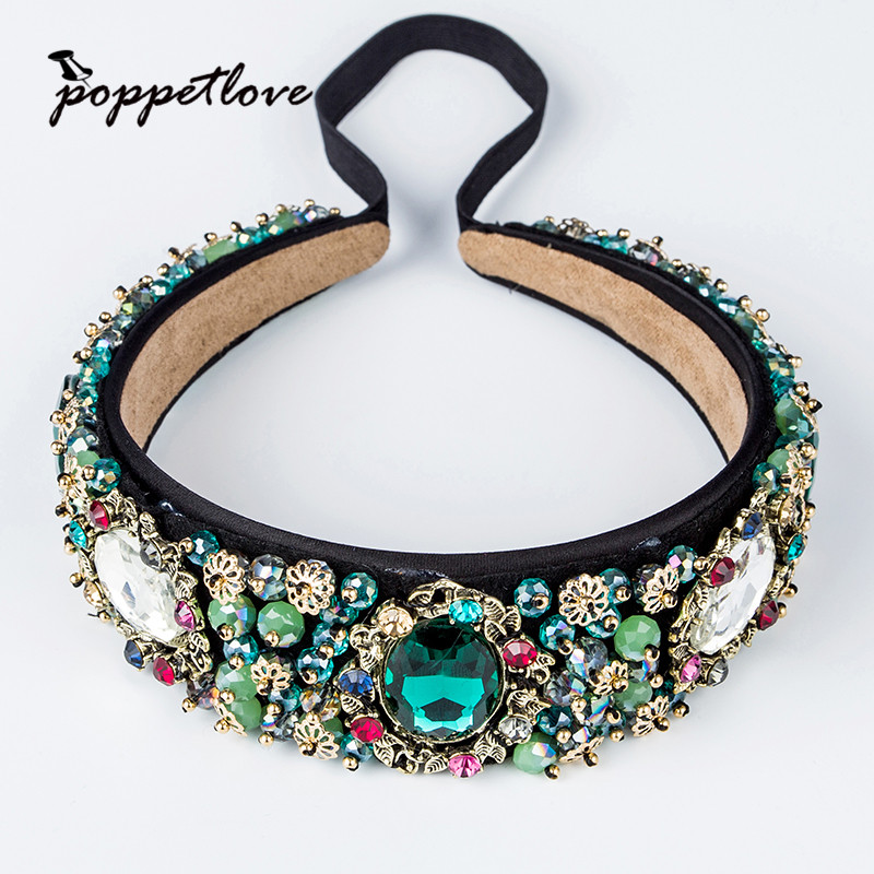 Fashion Crystal Rhinestone Pearl Headwear Ladies Girls Green Flower Headband Head Piece Hair Band Hair Accessories white black 100