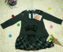 Vitamin long sleeve plaid child one piece princess formal bubble fashion