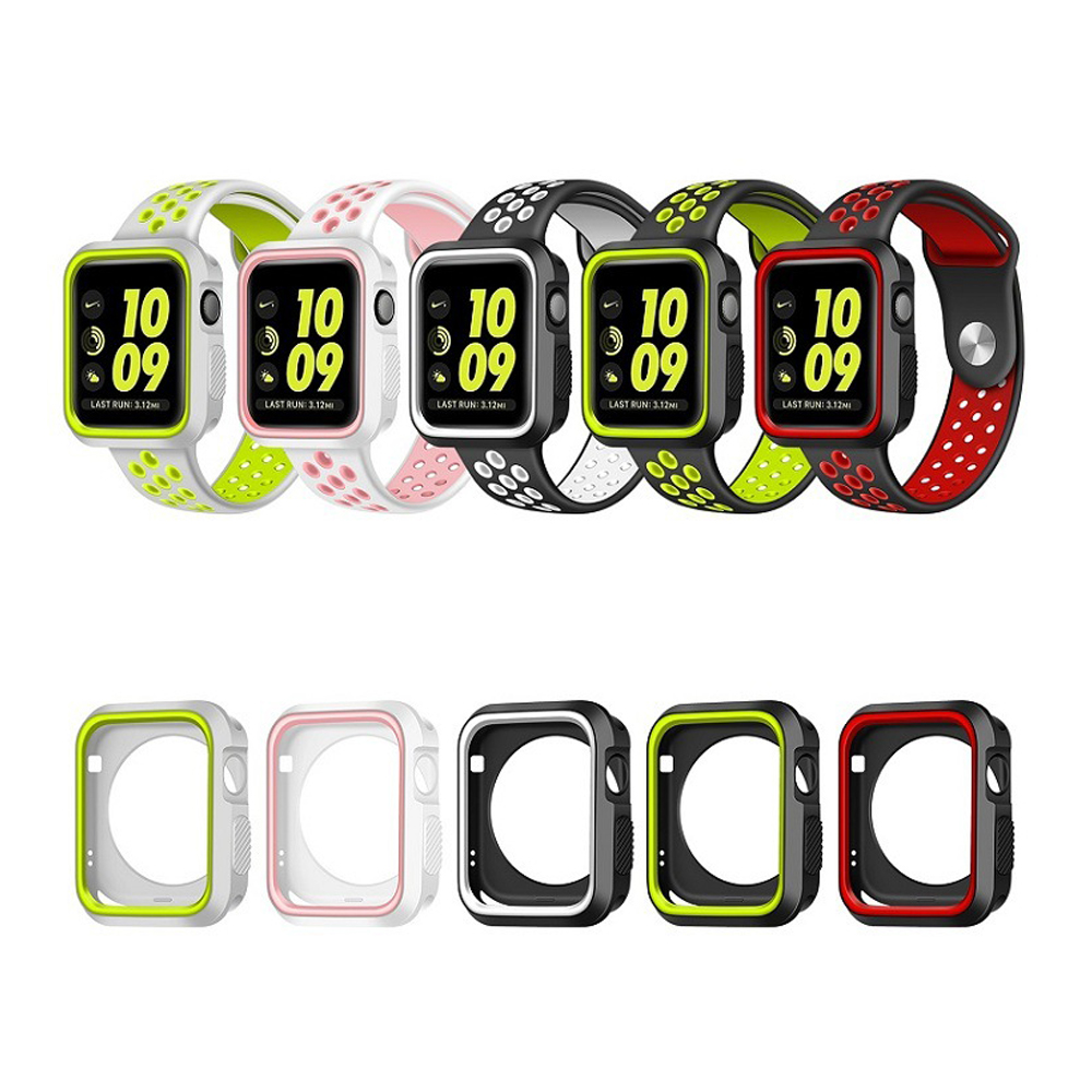Silicone Case + Band for apple watch 3 42mm 38mm Watch Strap Case For Iwatch sreise 3/2/1 rubber case for apple watch nike case nanox apple ipod nano watch conversion kit silver case clear strap