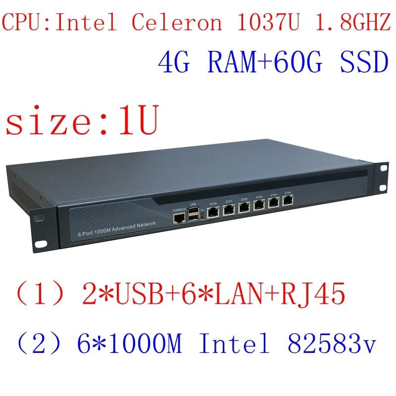 Intel 1037U 6 Lan Firewall Network Server 1U Rackmount Network Router 4G RAM 60G SSD