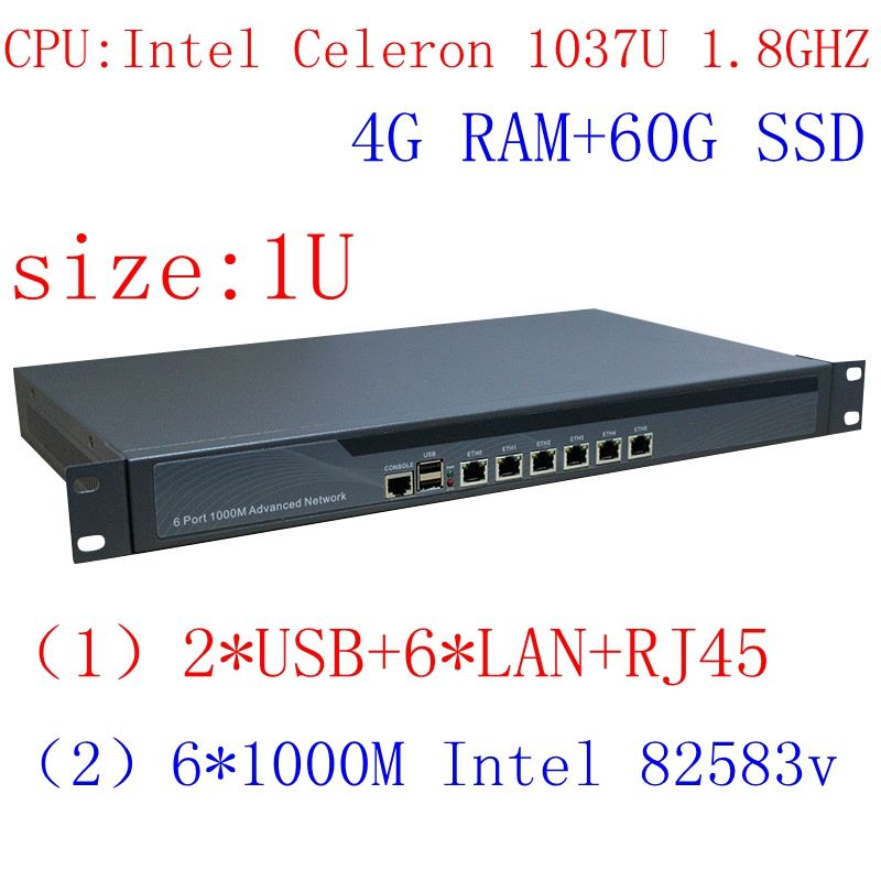 Intel 1037u 6 lan firewall netzwerk server 1u rackmount netzwerk router 4g ram 60g ssd