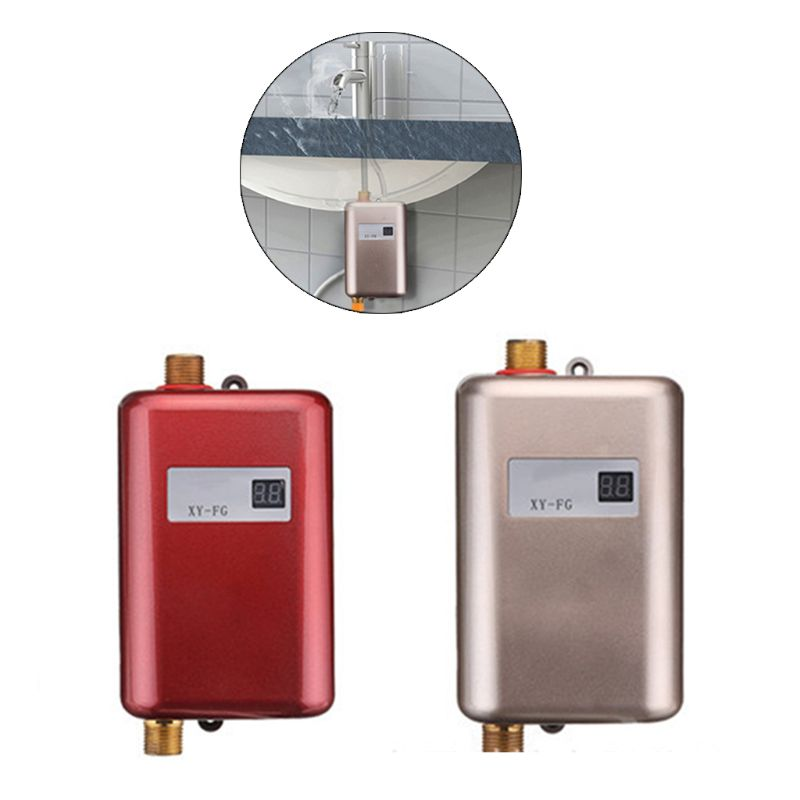 3800W Water Heater Mini Tankless Instant Hot  Kitchen Heating Thermostat US  Plug Intelligent Energy Saving Waterproof 10166