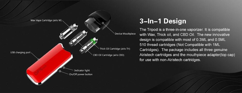 AIRISTECH airis Tripod 3in1 Vape Pen Kit 510 Thread Qcell Hearting with  3pcs Refillable Oil Cartridge for Wax/CBD/TH E-Cigarette