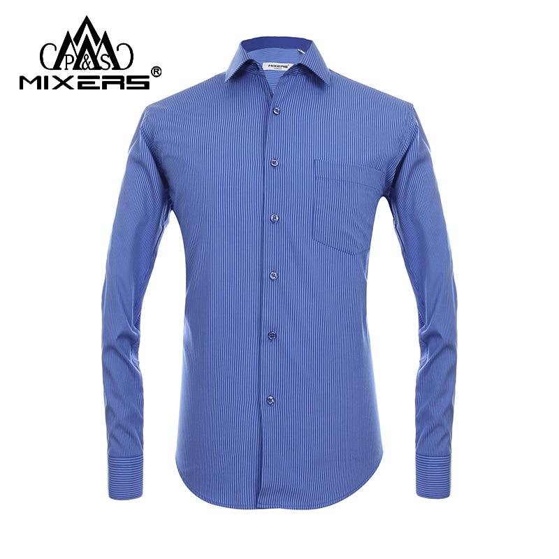 2018 New Arrival Striped Shirt Men Long Sleeve Big Sizes Men Shirt Blue Business Casual Combed Cotton Dress Shirt Men Clothing