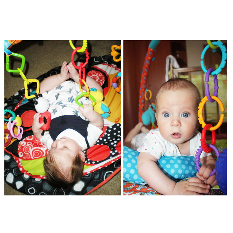 24pcs /set Colorful Rainbow Rings Baby Toy Holder Baby Rattle Crib Bed Pram Stroller Hanging Decoration Toys Teether Accessories