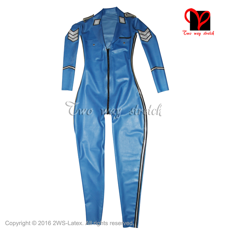 5362f2cf7633b Sexy military latex body suit front zipper with pocket flap Belts Rubber  Catsuit Jumpsuit Unitard overall BodySuit zentai LT-074