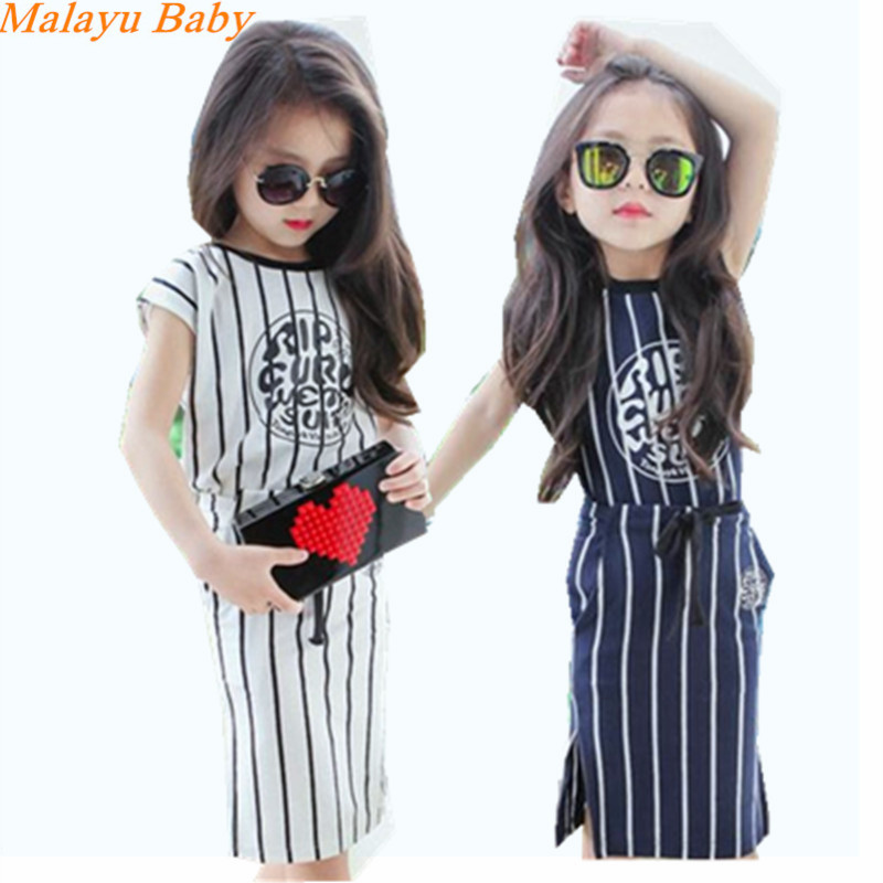 Malayu baby 2018 annual girls summer new children's short-sleeved T-shirt vertical stripe letter + two-piece package hip skirt two tone letter print t shirt