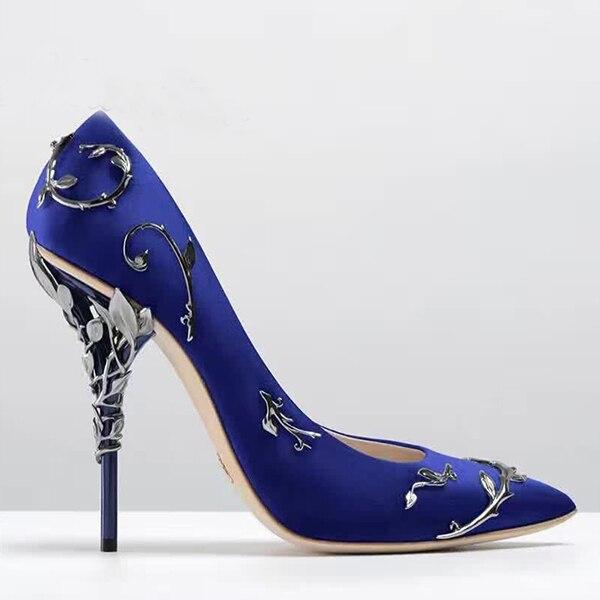 2018 Filigree Leaves Rose gold Eden Heel Pumps Pointed Toe