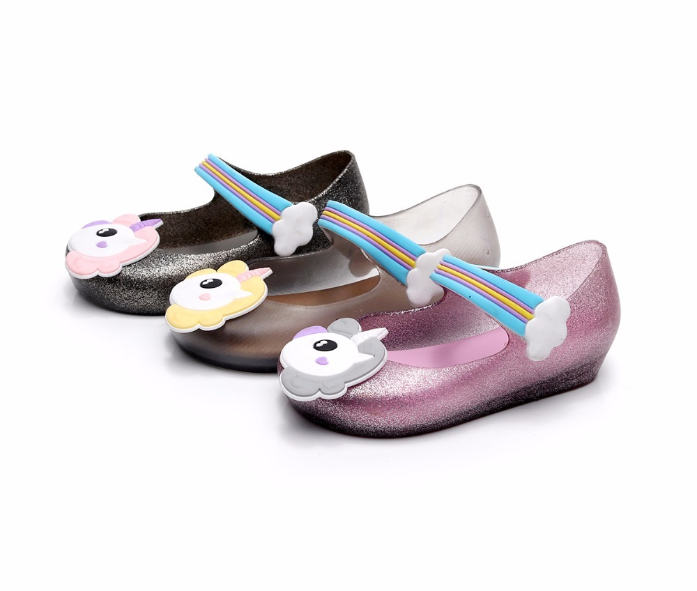 SUMMER 2018 Mini Melissa Jelly Shoes Girls Sandals Unicorn Children Beach Shoes Slippery Fish Head Slippers Cute Princess Shoes