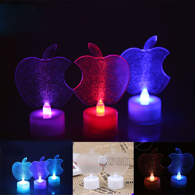 Apple Colorful Candle Small Night Lights Glowing Festival Christmas Celebration Party Transparent Lamp Luminous Color