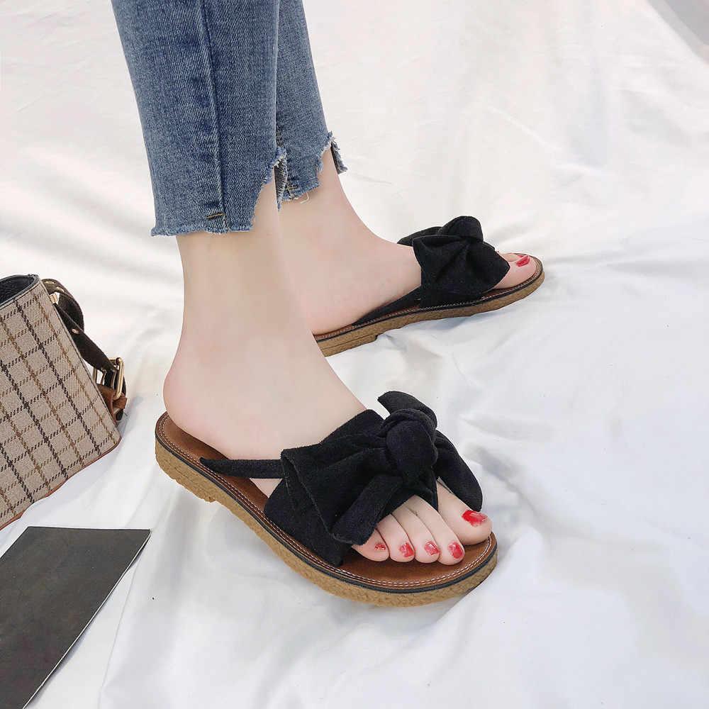 2bd05f10f407e ... 2018 zapatos mujer chinelos de ver o feminina Women Fashion Solid Color  Bow tie Flat Heel ...
