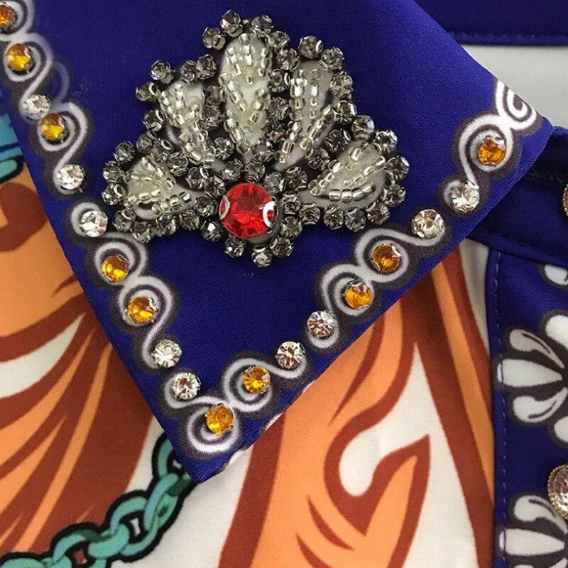 Deux Blanc Floral 2 Ensemble Automne Jupe 2018 Vintage Chemise Diamants Imprimé Conception Pièces Et Femmes Piste Orange Tops fxqtwYaw