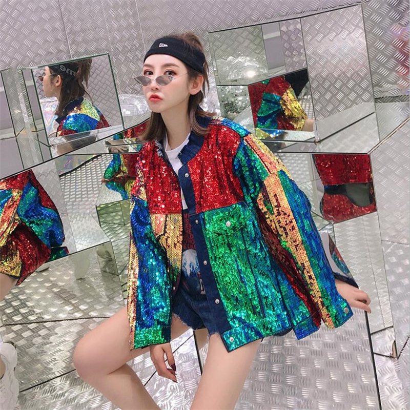 Spring 2019 New Fashion Colored sequined denim jacket Women Street fashion brand loose large size Long Sleeve Denim Jackets Coat