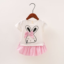 Baby Girl Clothes Dress Casual Striped Rabit Patch Korean Summer Cotton Cute Pretty Clothing Children Kids Baby Girl Dresses 40