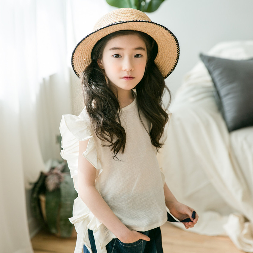 cotton t-shirt for girls clothing with ruffles flare sleeves white big girls t shirts summer 2018 baby tops toddler kids clothes