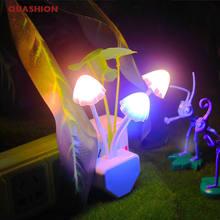 Novidade luz da noite ue & eua plug indução sonho cogumelo fungo luminaria lâmpada 220v 3 led cogumelo lâmpada led luzes da noite