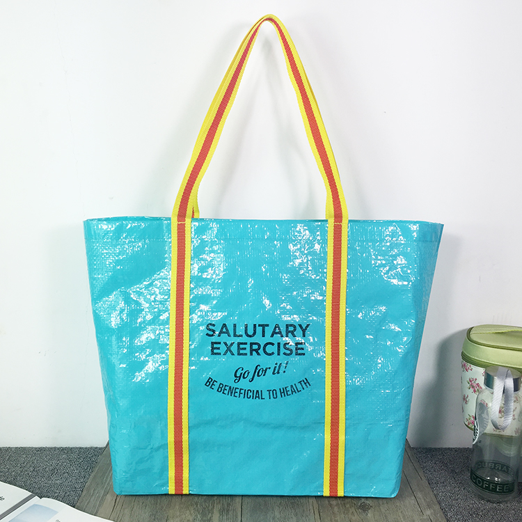 Large PP woven tote bag with color handles promotional shopping bags available for custom tote bag