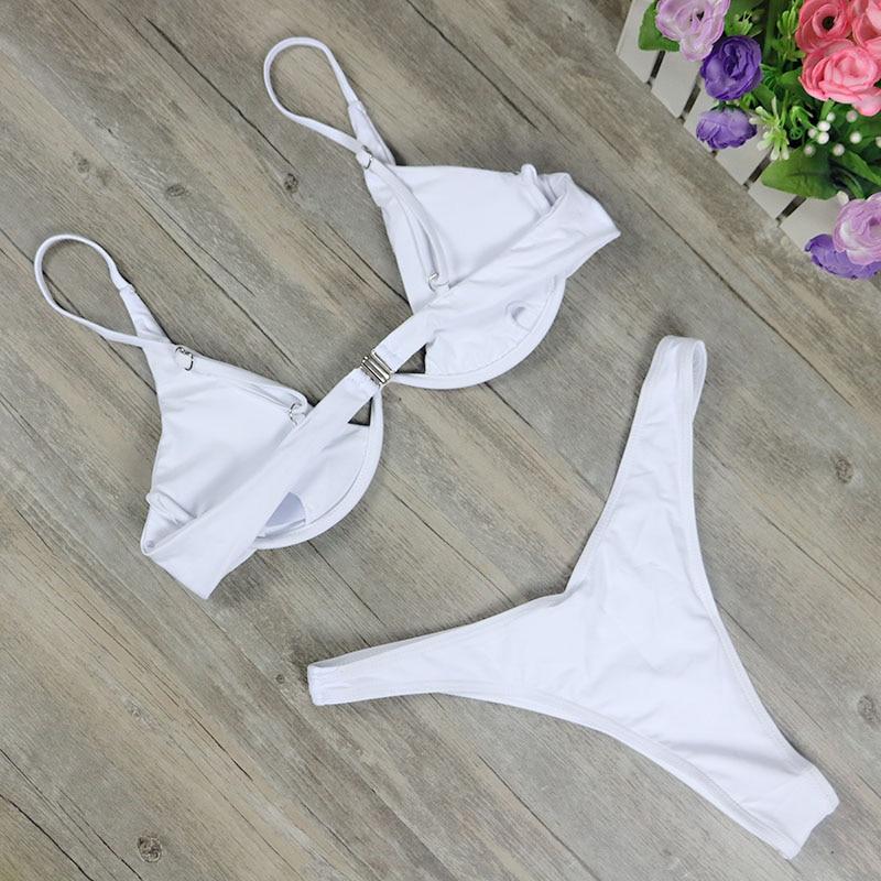 HTB1t2.sPHPpK1RjSZFFq6y5PpXat 2019 New high cut thong bathing suit high waist swimsuit Solid swimwear women Brazilian Biquini swim beach micro bikini set