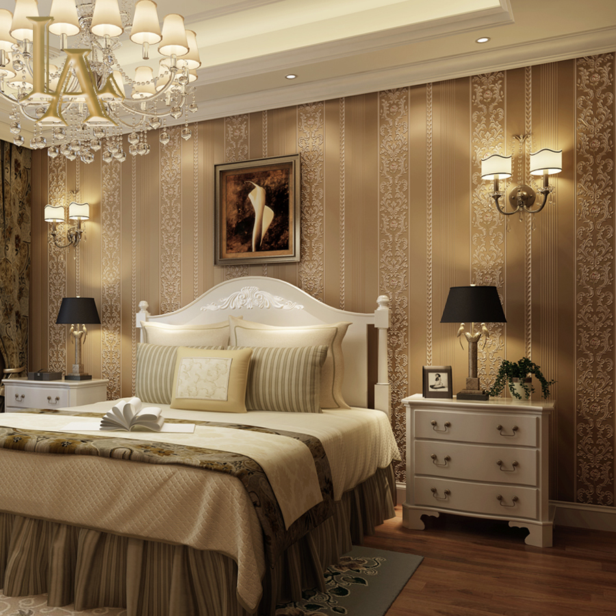 Popular luxury bedroom design buy cheap luxury bedroom for Striped wallpaper bedroom designs
