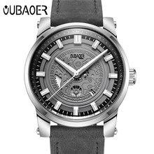 OUBAOER Original Mens Relojes de Primeras Marcas de Lujo Reloj de Los Hombres de Cuero Reloj de Los Hombres Relojes Relogio masculino Horloges Mannen Erkek Saat