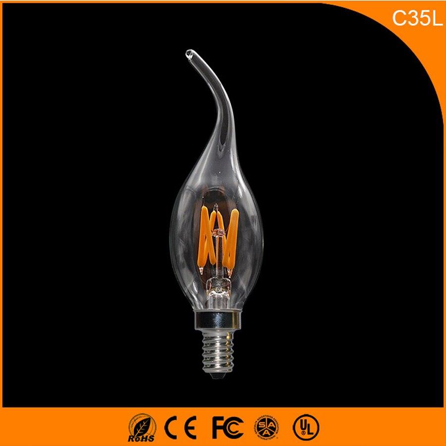 50PCS 3W E14 E12 LED Bulbs ,C35L LED Filament Candle Bulbs 360 Degree Light Lamp Vintage pendant lamps AC220V